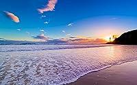 絵画風 壁紙ポスター (はがせるシール式) ゴールドコーストの夕陽 サンセット ビーチ オーストラリア 海 キャラクロ BCH-044W2 (ワイド版 603mm×376mm) 建築用壁紙+耐候性塗料