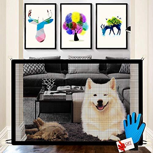 Nifogo Magic Gate für Hunde, Hundebarrieren, Portable Hund Safe Guard, Zusammenklappbar, Einfach überall zu Installieren, für Babys, Hunde & Katzen (Schwarz+Handschuhe)