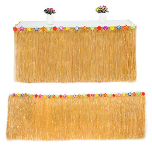 Hawaiian Luau Grass Table Skirt with Hibiscus Flowers Includes 9 Pairs Fasteners Perfect for Beach Tiki Tropical Island Moana Party Luau Decoration - Orange by Giveme5
