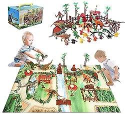 3. Baccow Play Mat and 60 Pcs Dinosaur Figures Activity Set
