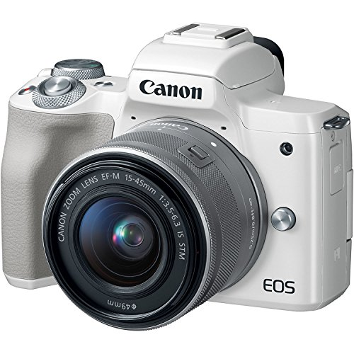 Canon EOS M50 Mirrorless Digital Camera Bundle + 15-45mm Lens (White) - 2681C011