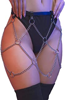 Nicute Punk Leather Belly Waist Chain with Circles Layered Body Chains Silver Dance Accessories Belt Jewelry for Women and...