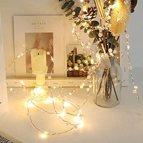 Led String Lights 50 LEDs Decorative Fairy Battery Powered String Lights, Copper Wire Light for Bedroom,Wedding(33ft/10m Warm Yellow)
