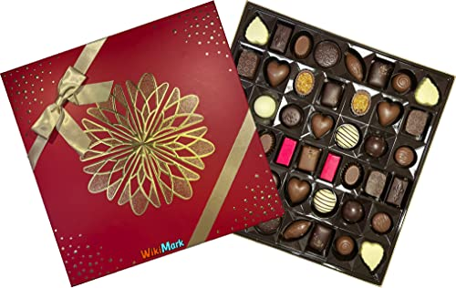 Belgian Luxury Chocolates 46 Piezas - En Caja Regalo de Lujo. Bombones de Chocolate Fabricados en Bélgica. WikiMark.