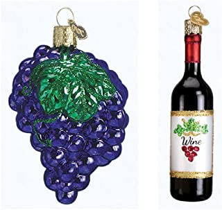 Wine Grapes and a Wine Bottle Glass Blown Ornakments by Old World Chirstma, wine lover gifts