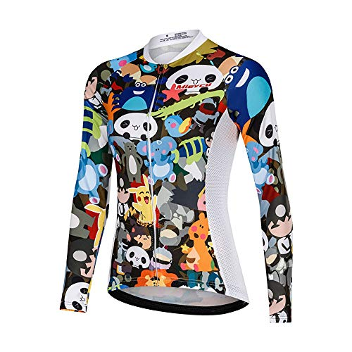 LINGYUN Cycling Jersey for Women, Long-Sleeved Cycling Shirt, Elastic, UV-Resistant, Quick-Drying Cycling Jacket, Suitable for Outdoor Sports, Cycling, Mountain Biking, Mountaineering,color 5,XXL