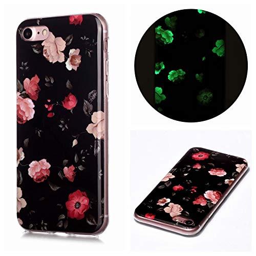 Miagon Leuchtend Luminous Hülle für iPhone 6S/6,Fluoreszierend Licht im Dunkeln Handyhülle Silikon Case Handytasche Stoßfest Schutzhülle,Rosa Blume