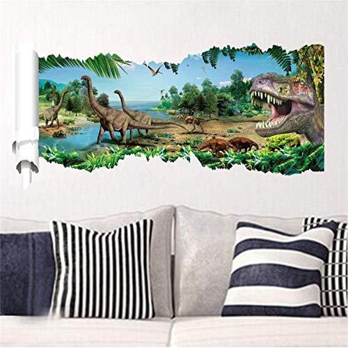 Wandaufkleber 3D Dinosaurier Home Decoration Pvc Wohnzimmer Zeitraum Tiere Drucken Aufkleber Wandbild Kunst Tapete Fenster Poster 46X90 cm D