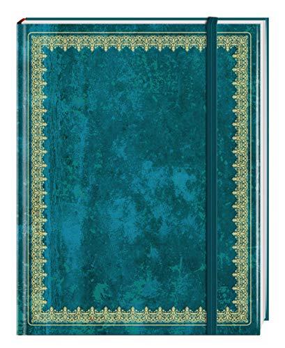 Blank Book Lederlook blau (groß) - Einschreibebuch / Notizbuch: liniert