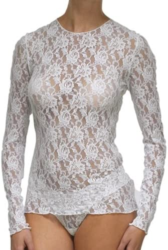 hanky panky Women s Signature Lace Unlined Long Sleeve Top Marshmallow Large product image