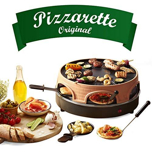 Emerio Pizzaofen, PIZZARETTE das Original, 3 in 1 Pizza-Raclette-Grill, patentiertes Design, für Mini-Pizza, echter Familien-Spaß für 6 Personen, PO-113255.4
