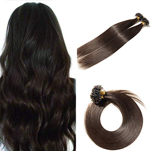 SEGO U Tip Hair Extensions Human Hair Pre Bonded Keratin Fushion Nail Tip Human Hair Extensions 100% Real Remy Hair Silky Straight 100 Strands/Pack 50g 24 Inch #02 Dark Brown