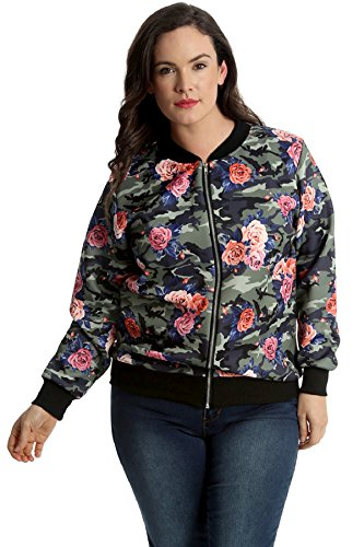 Nouvelle Collection Womens Plus Size Bomber Jacket Ladies Camouflage Floral Print Coat Zip Closure Long Sleeves Ribbed Khaki 16