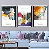 ZHQHYQHHX Cuadros geométricos abstractos de porcelana de cristal de lujo tríptico mural marco negro Villa Hotel Home Sala Decoración de pared 3 piezas/set de pintura colgante (tamaño: 40 cm x 60 cm)