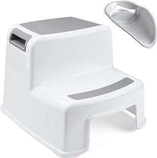 WUUDI 踏み台 子供 2段 ステップスツール子供用 幼児 こどもトイレ 滑り止め 防水 強い耐荷重 多用途2段階踏み台&蛇口延長 子ども用に付いて【メーカー直営・1年保証付】 (グレー)