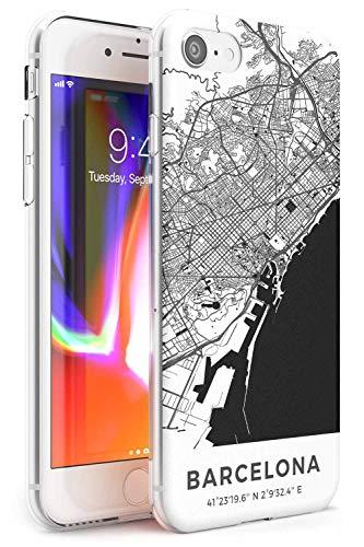 Mapa de Barcelona, España Slim Funda para iPhone 6 TPU Protector Ligero Phone Protectora con Viaje España Pasión De Viajar Calles Europa