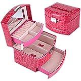 AMURAO Capas de joyería de 3 Capas Embalaje Organizador de Maquillaje Caja de Almacenamiento Caja de contenedor automático Caja de Regalo Mujeres Ataúd cosmético
