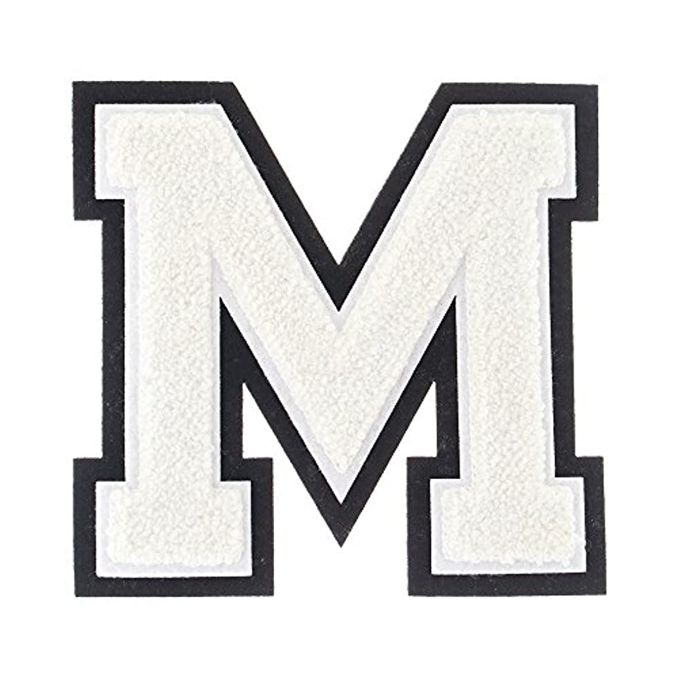M - White on Black - 4 1/2 Inch Heat Seal/Sew On Chenille Varsity Letter