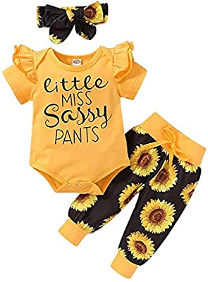 Newborn Baby Girl Clothes Infant Baby Ruffle Romper +Pants + Headband 3 PCS Outfits Set from