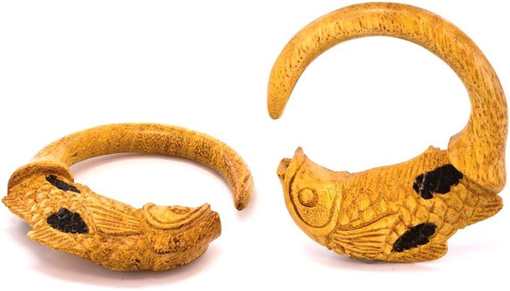 Elementals Organics KOI Fish Spiral Jackfruit Wood Body Jewelry 3mm - 10mm - Price Per 1