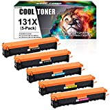 Cool Toner Compatible Toner Cartridge Replacement for HP 131A CF210A 131X CF210X Laserjet Pro 200 Color MFP M251nw M276nw M276n Pro 200 M251n M251 M276 CF211A CF212A CF213A Toner Printer Ink 5-Pack