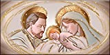 Deco Italia Quadro Sacro Capezzale Santa Famiglia The Kiss Ceramic Oro con Glitter   115 x 62 cm