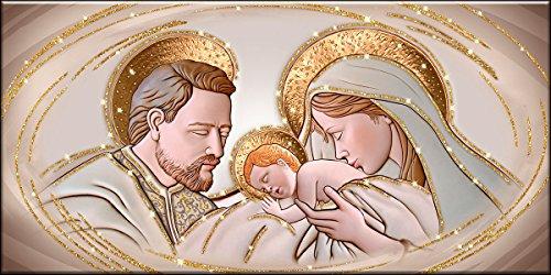Deco Italia Quadro Sacro Capezzale Santa Famiglia The Kiss Ceramic Oro con Glitter | 115 x 62 cm