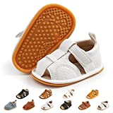 Baby Boy Sandals Summer Anti-Slip Rubber Sole First Walkers Shoes Infant Sandals for Toddler Girls(0-18 Months)(6-12 Months M US Infant,E-white)