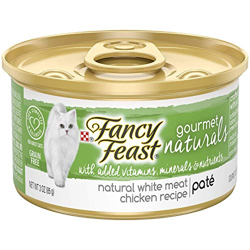 Purina Fancy Feast Grain Free, Natural Pate Wet Cat Food, Gourmet Naturals White Meat Chicken Recipe - (12) 3 oz. Cans