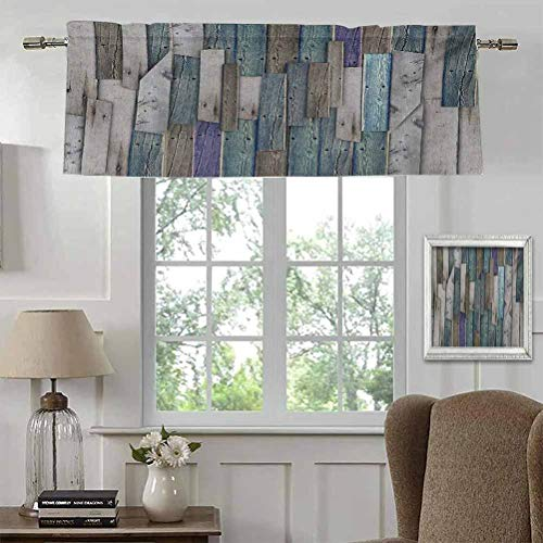 """Kitchen Window Valance Short Kitchen Window Curtains Blue Grey Grunge Rustic Planks Barn House Wood and Nails Lodge Hardwood Graphic Print for Sliding Glass Door Rod Pocket Panel 42""""W x 18""""L"""