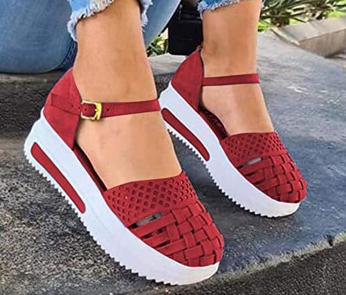 FAYHRH Sandalias Casa Interior Antideslizantes,Sandalias Informales, Pendientes Casuales de Color sólido de Baja Tapa con Zapatos para Mujer-Rojo_41