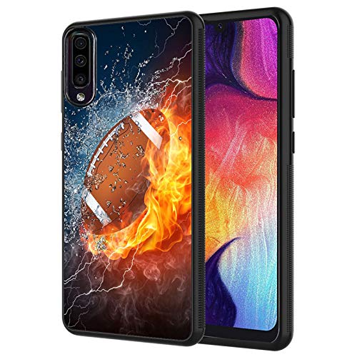 GalaxyA01 Case, Fire and Ice Football Design Shockproof Slim Anti-Scratch TPU Rubber Protective Case Cover for Samsung GalaxyA01