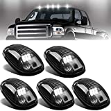 NPAUTO 5pcs Smoked LED Cab Marker Lights White 9 LED Roof Top Clearance Lights Running Lights for 2003-2018 Dodge Ram 1500 2500 3500 4500 5500 Pickup Truck