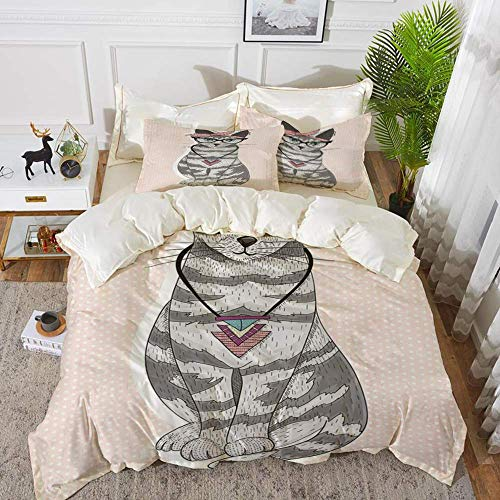 161 Teen Decor,Stylish Kitty Cat with Glasses Tribal Necklace Clasp Fashion Design Decorati,Hypoallergenic Microfibre Duvet Cover Set 200 x 200cm with 2 Pillowcase 50 X 80cm