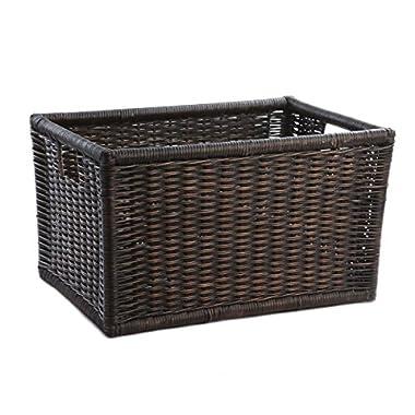 The Basket Lady Wicker Kitchen Cabinet Basket | Pantry Basket, Large, Antique Walnut Brown