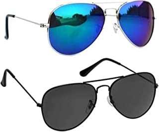 IFLASH Men's & Women's UV Protected Classic Aviator Sunglasses (Black & Blue)