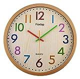 reloj de pared Números coloridos Reloj de pared redondo de madera tranquilo Tick-Libre Reloj casero Dormitorio Oficina Reloj de pared de kindergarten (12 pulgadas) Decoraciones para el hogar