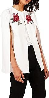 Womens Fashion Rose Embroidery One Button Cloak Slim Shawl Coat