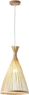 FRCOLOR Bamboo Chandelier Vintage Woven Pendant Light Wicker Light Bird Cage Hanging Lamp Lantern for Bedroom Restaurant Cafe