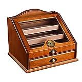 Humidor de cigarros de escritorio, caja de almacenamiento de cigarros, humidor de cigarros hecho a mano, accesorios para cigarros, divisor e higrómetro frontal, regalos de cigarros para hombres LKWK