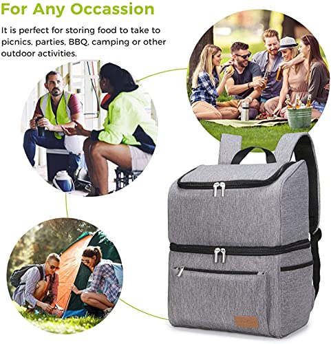 Lifewit 18L (34-Can) Double-Decker Soft Cooler Backpack with Hard Liner, Large Cool Bag Backpack for Camping/BBQ/Family Outdoor Activities, Grey