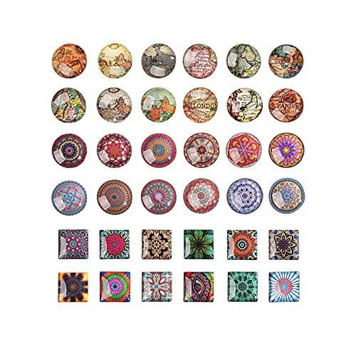 Ornaland Cabujón de Cristal con Estampado de Mosaico Redondo/Cuadrado Colgante de Camafeo Ajustes de Joyería para Brazalete Pulsera Fabricación de Joyas