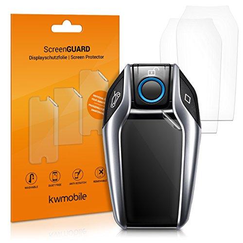 kwmobile 3X Schutzfolie kompatibel mit BMW Bildschirm Key Autoschlüssel - Transparente TPU Auto Schlüssel Bildschirmschutzfolie - Fahrzeugschlüssel Folie