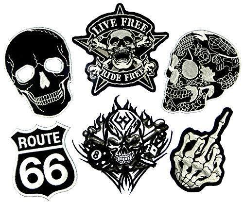 i-Patch - Patches - 0085 - Totenkopf - Schwarz - Live Free - Acht - Würfel - Flicken - Aufnäher - Sticker - Badges - Bügelbild - Aufbügler - Iron-on - Applikation - zum aufbügeln - Skelett - Skull