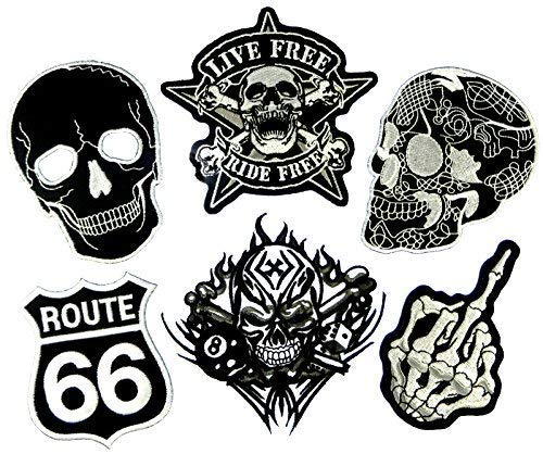 i-Patch - Patches - 0085 - Totenkopf - Schwarz - Live Free - Acht - Würfel - Flicken - Aufnäher - Sticker - Badges - Bügelbild - Aufbügler - Iron-on - Applikation - zum aufbügeln - Skelett - Skull