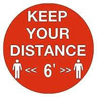 ACAO 6Pcパブリックキープ距離標識ステッカー6フィート離れた場所に設置防水安全フロアサイネージ(Color:R6F)