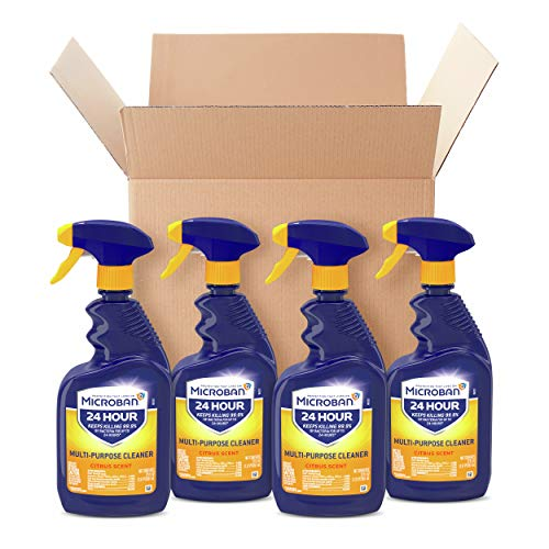 Microban Disinfectant Spray, 24 Hour Sanitizing and Antibacterial Spray, All Purpose Cleaner, Fresh Scent, 4 Count, 22 fl oz Each