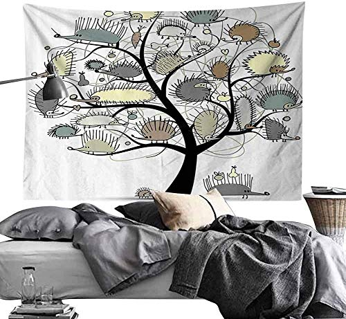 Jacoby Psychedelic Decorative Wandteppiche Animal Decor Cartoon Drawn Cute Little Hedgehogs on a Tree with Tiny Hearts and FruitsArt Hippie Wandteppiche W80 x L60 Multicolor