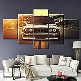 CCRTAR Impresiones En Lienzo Póster M3 Sports Car Sunset Impresiones sobre Lienzo 5 Piezas Lienzos Moderno Arte Sala Decoración Regalo