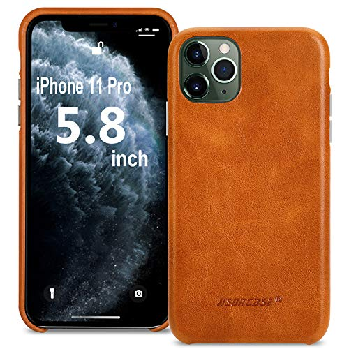 JISONCASE iPhone 11 Pro Leather Case, iPhone 11 Pro Cover Leather Case, Ultra Slim & Thin Soft Leather Back Cover Snap Grip Case for Apple iPhone 11 Pro 5.8 inches 2019(Brown)